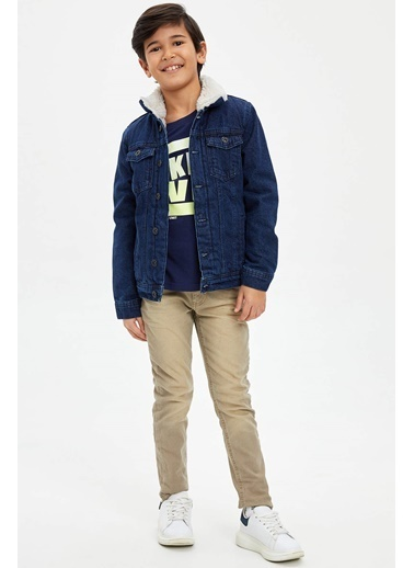 DeFacto İçi Kürklü Jean Ceket Mavi